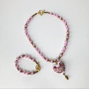 Unique Ceramic Heart Pink Necklace & Bracelet Set